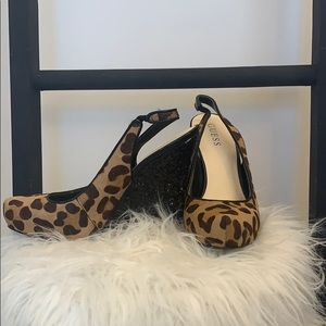 Guess leopard and glitter wedges